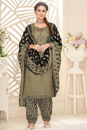 Pure Pashmina Patiyala Salwar Suit In Embroidered Work Tan Color