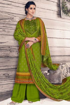 Pure Pashmina UnStitched Daily Wear Palazzo Suit Olive Green Color