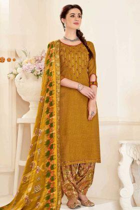 Pure Pashmina Unstitched Punjabi Salwar Kameez Mustard Color