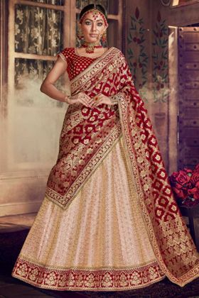 Pure Raw Silk Bridal Lehenga Choli In Light Peach Color