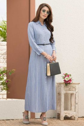 Pure Rayon Long Kurti Lining Printed With Light Blue Color With Fancy Belt