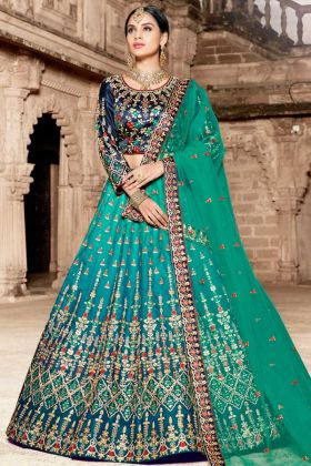 Pure Satin Designer Lehenga Choli Multi Color
