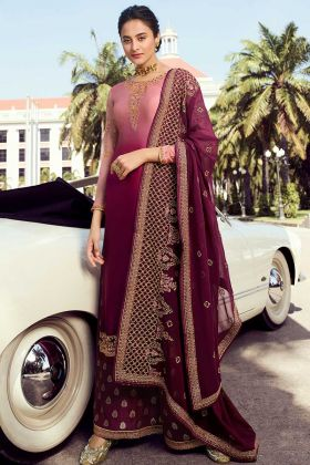 Pure Satin Georgette Multi color Eid Palazzo Salwar Kameez