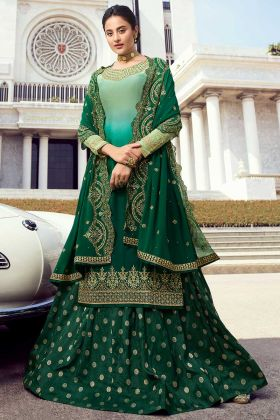 Pure Satin Georgette Pakistani Salwar Suit Multi Color For Eid