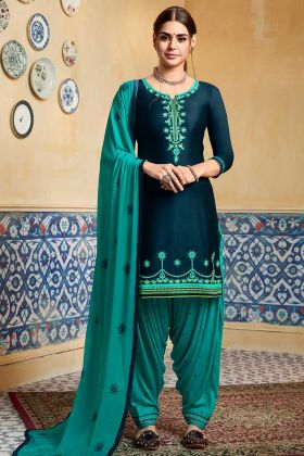 Pure Satin Patiala Dress Embroidery Work In Dark Blue Color
