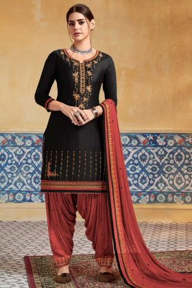 Pure Satin Punjabi Dress Black Color Embroidery Work With Nazneen Dupatta