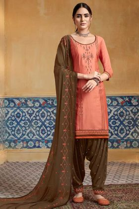 Pure Satin Punjabi Salwar Suit Peach Color With Embroidery Work