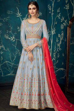 Pure Satin Silk Designer Anarkali Salwar Kameez In Grey Color