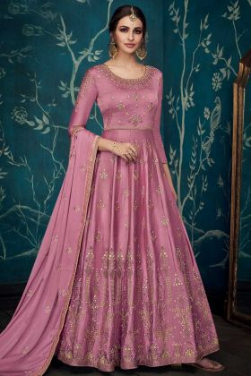 Pure Satin Silk Party Wear Anarkali Salwar Suit In Old Rose Color