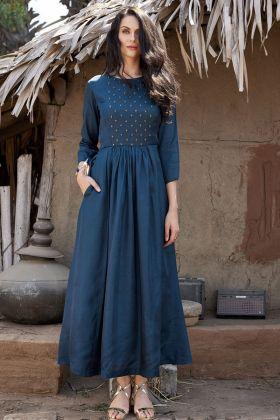 Pure Silk Blue Designer Kurti