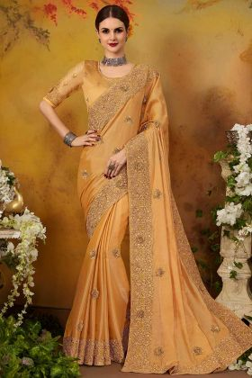 Pure Silk Party Wear Saree Zari Embroidery Work In Mustard Color