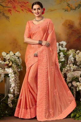 Pure Silk Reception Saree Thread Embroidery Work In Peach Color