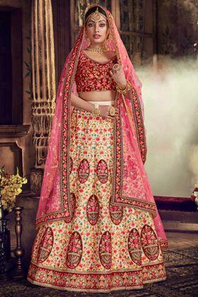 Pure Silk Wedding Bridal Lehenga Choli In Tussar Color