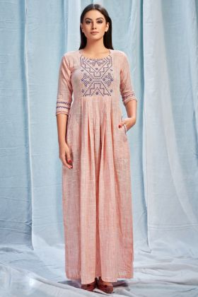 Pure South Cotton Party Wear Kurti Digital Print Work In Light Peach Color