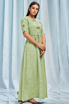 Pure South Cotton Stylish Kurti Embroidery Work In Mint Green Color