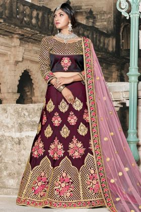 Pure Taffeta Party Wear Lehenga Wine Color With Stone Work