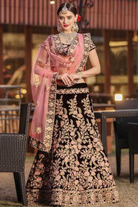 Pure Velvet Maroon Wedding Lehenga Choli With Dupatta Set