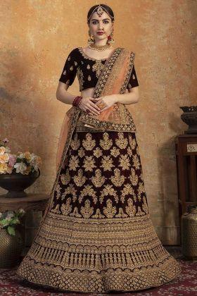 Pure Velvet Maroon Wedding Lehenga Choli With Soft Net Dupatta