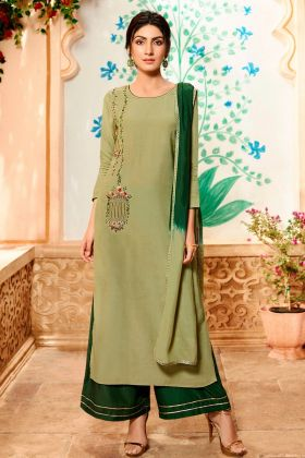 Pure Viscose Pakistani Dress Light Olive Green Color With Khatli Work