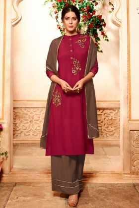 Pure Viscose Palazzo Dress  Zari Emboirdery Work In Maroon Color