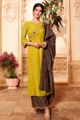 Pure Viscose Palazzo Salwar Kameez Zari Embroidery Work In Lemon Yellow Color