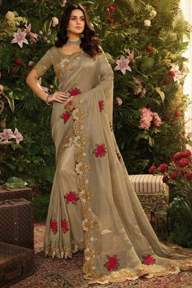 Pure Viscose Tissue Party Wear Saree Beige Color With Stone Work
