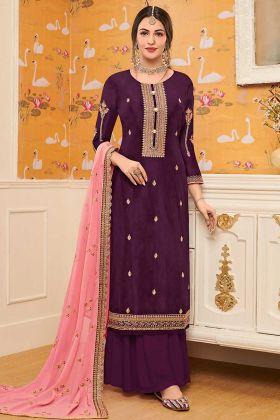 Pure Viscose Upada Palazzo Dress Embroidery Work In Purple Color