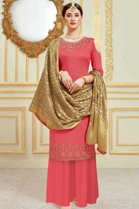 Pure Jam Satin Palazzo Salwar Suit In Coral Color