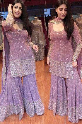 Purpel colour Georgette Sequence Work Sharara salwar Suit