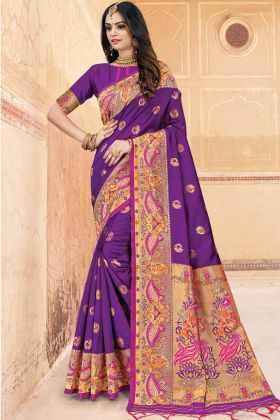 Purple Art Silk Traditional Woven Saree With Golden Highlights