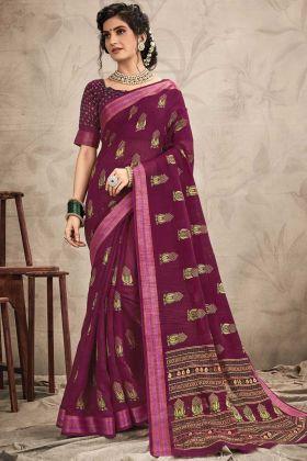 Purple Color Chanderi Resham Work Saree