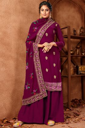 Purple Color Georgette with Jari Embroidery Salwar Suit