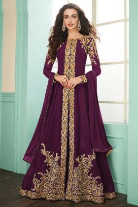 Purple Color Heavy Embroidered Real Georgette Suit