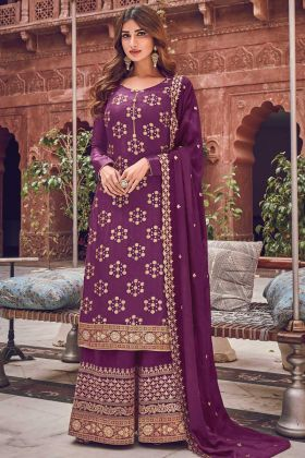 Purple Color New Arrival Jacquard Silk Suit For Ceremony