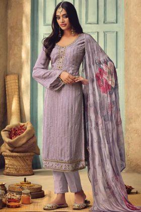 Purple Color Pure Chinon Salwar Suit