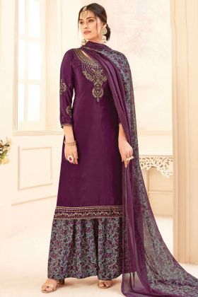 Purple Color Pure Crepe Party Wear Plazzo Suit