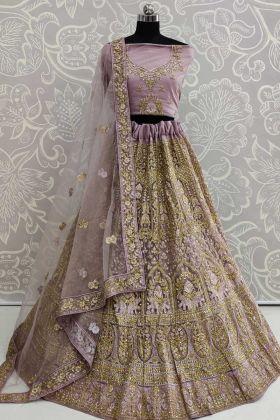 Purple Color Resham Embroidery Work Net Lehenga Choli