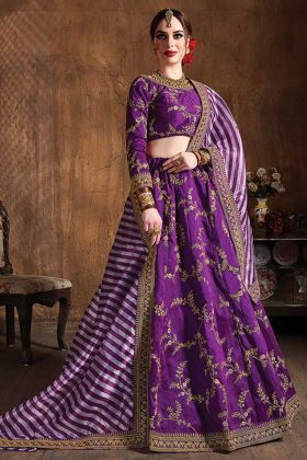 Purple Color Wedding Embroidery Designer Raw Silk Lehenga