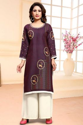 Purple Cotton Palazzo Dress In Thread Work