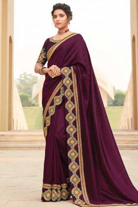 Purple Fancy Fabric Saree With Heavy Broad Border