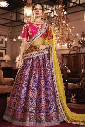 Purple Jacquard Silk Wedding Special Lehenga Choli