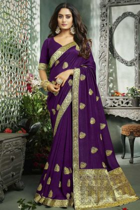Purple Saree For Women With Art Silk Weaving And Jari Embroidery Work