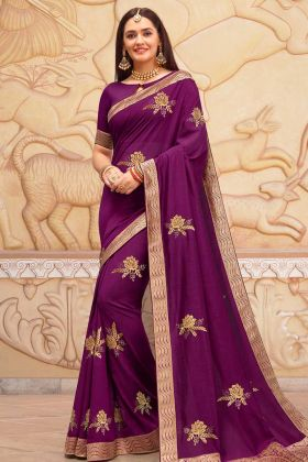 Purple Soft Art Silk Saree With Art Silk Blouse