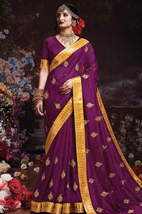 Purple Traditional Saree With Vichitra Silk Blouse