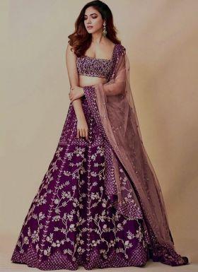 Purple Zari Embroidered Lehenga Choli