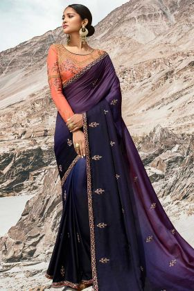Purple and Navy Blue Barfi Silk Saree Blouse Design