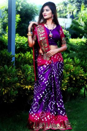 Purple and Pink Color Art Silk Saree With Printed Work