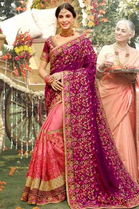Purple and Pink Color Art Silk Saree With Thread Embroidery Work