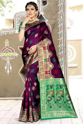 Purple Banarasi Art Silk Wedding Saree For Women