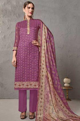 Purple Color Cotton Silk Pakistani Casual Salwar Kameez